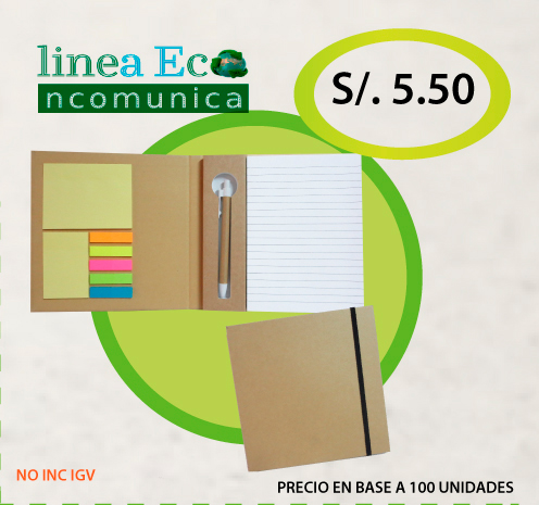 Cuaderno ecologico + post it + lapicero + liga