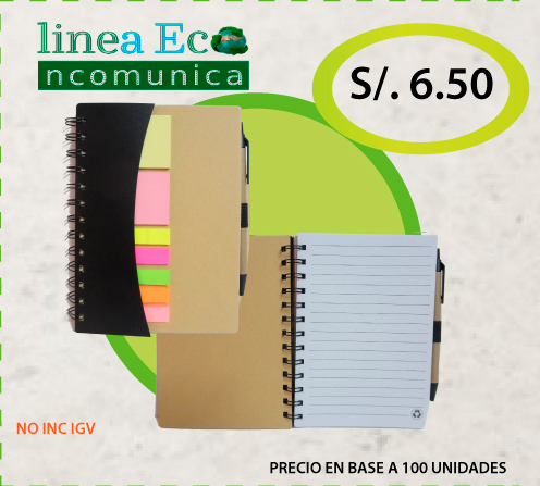 Cuaderno ecologico doble ring + lapicero + post it