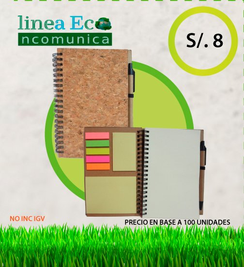 Cuaderno ecologico anillado + lapicero + post it