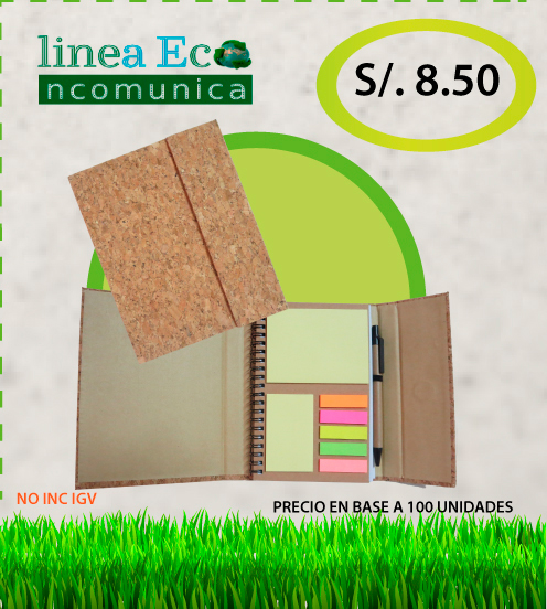 Cuaderno ecologico + lapicero + post it